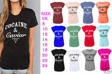 New Womens Girls Cocaine and Caviar Print Turn Up Cap Sleeve Ladies T-Shirt 6-24