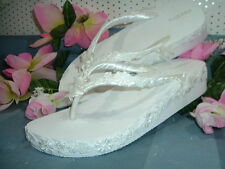 "Wedding Shoes FLIP FLOPS  "" LEAH "" White Wedge"