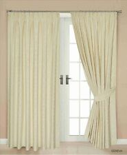 JACQUARD LINED THERMAL BLACKOUT PENCIL PLEAT PAIR OF CURTAINS, CREAM GEVAN