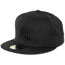 """New Era 59Fifty New York NY Yankees """"Blackout"""" Fitted Hat (Black/Black) Mens Cap"""
