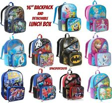 "2pc Large Kids 16"" School BACKPACK +LUNCH BOX Set Boys-Girls Movie TV Characters"