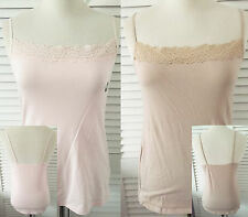 New M&S Pack of 2 Vest Camisole Tops in Fawn & Blush Pretty Lace Border 12 16 18