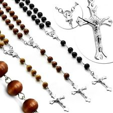 """Necklace 20"""" 50cm Cross Crucifix Chain Black Brown Beige Rosary Wooden pearls"""