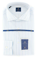 New $600 Luigi Borrelli Light Blue Striped Shirt - (EV061376ACHILLE)