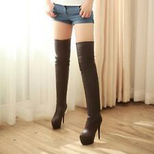 UK Ladies Stiletto Heels Over Knee Thigh High Leg Boots Shoes Black/White Size 9