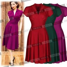 Womens 40s 50s Style Vintage Retro Shirtwaist Flared Evening Party Swing Dresses