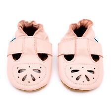SOFT LEATHER BABY SHOES WITH SUEDE SOLE - PINK MARY-JANE SANDAL - DOTTY FISH