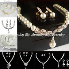 Elegant Crystal Faxu Pearl Bridal Wedding Jewelery Set Party Necklace Earrings