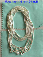 Free ship 925sterling solid silver lots 5pcs 1mm snake chain necklace 16-24inch