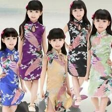 2-8Y Kids Girls Chinese Qipao Silk Fabrics Floral Peacock Cheongsam Dress Summer