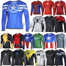 Superhero Freizeit Comics Herren Kostüm Cycling Langarm T-Shirts Bicycle Jersey