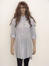 New womens blue pinstripe drawstring cotton long sleeve shirt dress uk size 8-16