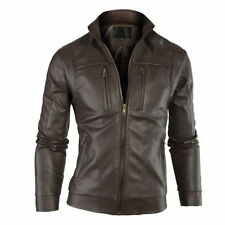 SALE New Men's Leather Jacket Casual Slim Fit Designer Biker Motorcycle PU 204