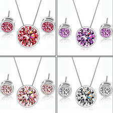 GIRL CHIC MYSTIC ZIRCON ROUND PENDANT EAR STUDS EARRINGS NECKLACE JEWELRY SET