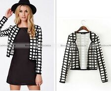 Women Casual Lady Blazer Short Lattice Slim Jacket Suit Coat Outwear
