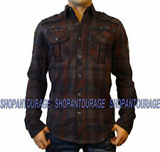 Affliction Custom Cycles 110WV405 Men`s New Brown Woven Button-Down Shirt