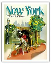 New York Horse Carriage Vintage Airline Travel Art Poster Print Giclee