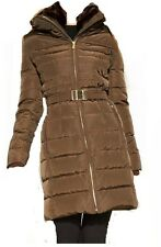 MICHAEL Kors Hooded Faux Fur Trim Belted Down Puffer winter jacket coat  BROWN