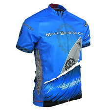 MAUI BREWING COMPANY BIG SWELL BEER MENS FULL ZIP CYCLING JERSEY Blue