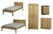 bedroom furniture wardrobes chest of drawers and bed stead's in mexican pine