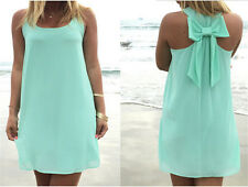Summer Style Casual Women Tank Sleeveless Mini Party Bowknot Women Chiffon Dress