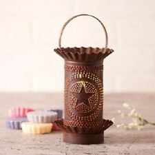 PUNCHED TIN WAX TART WARMER Handmade STAR in CIRCLE Electric Accent Light USA