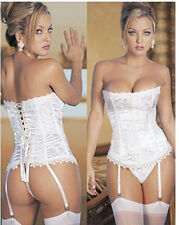 Hot Sexy Lace Up Boned Bustier Corset Dress Basque+Garters+Thong White S-3XL