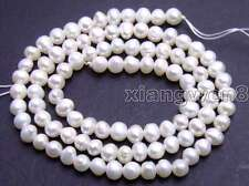 """SALE 4-5mm Natural white Freshwater round Pearl Luster loose Bead 14""""-los635"""