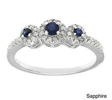 Three Stone Round Blue Sapphire and Diamond Ring in Sterling Silver