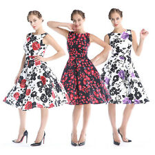 Womens Vintage 50's Floral Print Boat Neck Pinup Rockabilly Swing Party Dress
