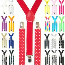 Braces Slim Thick Suspenders Trouser Clip Stretch Elastic Mens Ladies Adjustable