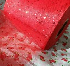 "1m 2m 5m metre 6"" GLITTER tulle SPARKLE dress NET crafts 15cm fabric 17 colours"