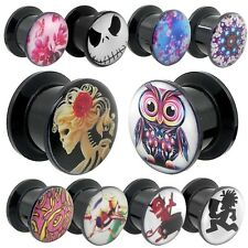 1 Flesh Tunnel Plug Piercing Earring Logo Owl Devil Skull Ear Stretching Acrylic