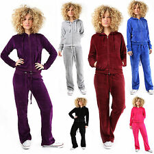Womens Ladies Velour Hooded Tracksuit Plus Size Jogging Top Bottom Suit Trousers