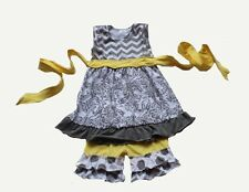 BOUTIQUE persnickety type yellow and gray CHEVRON short SET! FREE SHIPPING