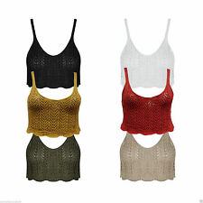 Women's Ladies Crochet Cami Bralet Deep V Neck Bra Cable Knitted Cropped Tops