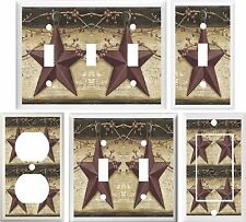 COUNTRY BARN STAR & BERRIES HOME DECOR LIGHT SWITCH COVER PLATE OR OUTLET V792