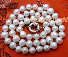 "SALE small 6mm to 7mm White natural Freshwater PEARL 17"" Necklace -nec5613"