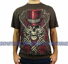 Affliction Smokin Aces A11969 Men`s New Super Relax Fit Brown T-shirt