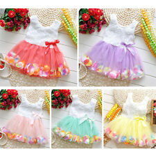 Newborn Baby Cute Girls Princess Party Toddler Tutu Lace Bow Flower Petal Dress