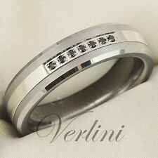 Black Diamond Simulated Tungsten Ring 6mm Wedding Band Titanium Color Size 6-13