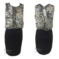 WOMENS LADIES SLEEVELESS LEOPARD PRINT RUCHED TOP BODYCON SKIRT DRESS SIZE 10-18