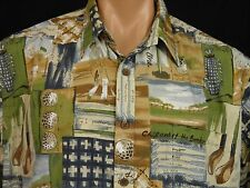 Cooke Street Hawaiian Camp Shirt Golf Print Mens L Golf Clubs Golf Balls Golfers