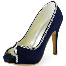 EP11083-IP PeepToe Stiletto High Heel Pumps Rhinestone Wedding Party Prom Shoes