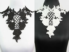 Black Off White Floral Lace Collar Applique Sewing Crafts Fabric Costume Trim