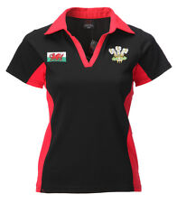 Wales Welsh Short Sleeve Ladies Rugby Shirt [blk]