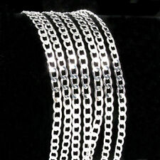 Bulk 50pcs Lots Wholesale Silver Cuban Flat Curb Link 925 Stamped Chain Necklace
