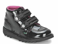 Kickers Kick Arro Black Leather Patent Girls Infant Kids Back To School Boots