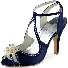 EP11058 Peep Toe High Heels Pumps Pearls Rhinestone Satin Evening Party Sandals