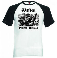WAFFEN PANZER DIVISION GERMANY WWII- BLACK SLEEVED BASEBALL TSHIRT S-M-L-XL-XXL